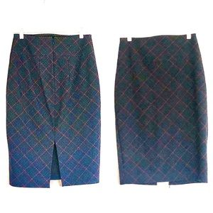 Express High Waisted Check Pencil Midi Skirt